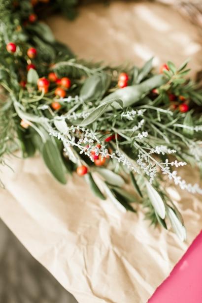 Rosemary and Nandina on wreath