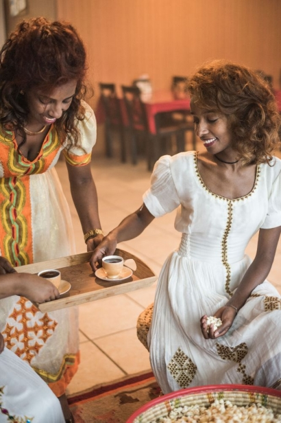 serving at Ethiopian coffee ceremony