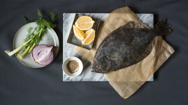 Flounder in papillote