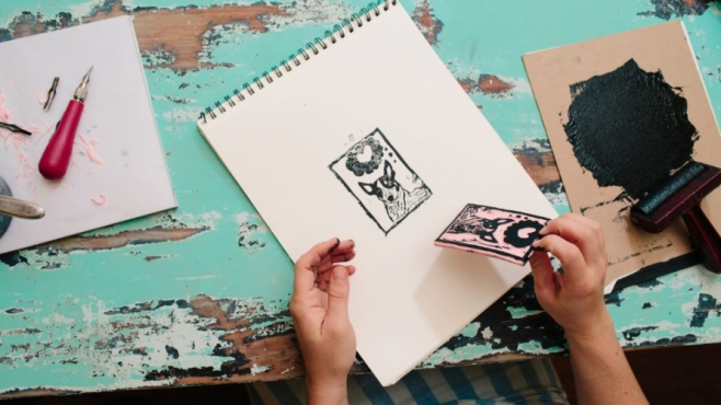 diy how to make a linoleum stamp for edible gifts in jacksonville florida