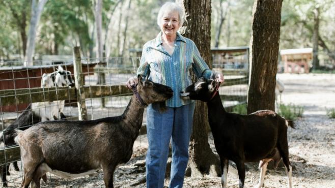 Sharon TerKeurst at her goat farm, Terk's Acres, in St. Johns County.