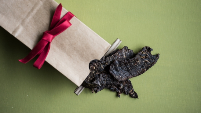 Beef Jerky in a gift bag with red bow