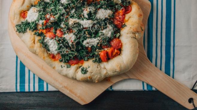 Crispy Kale and Cherry Tomato Pizza
