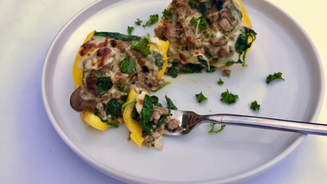 spinach and steak stuffed peppers