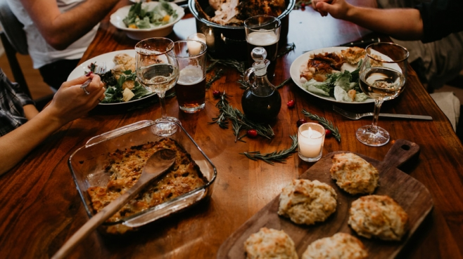 Holiday table dinner party