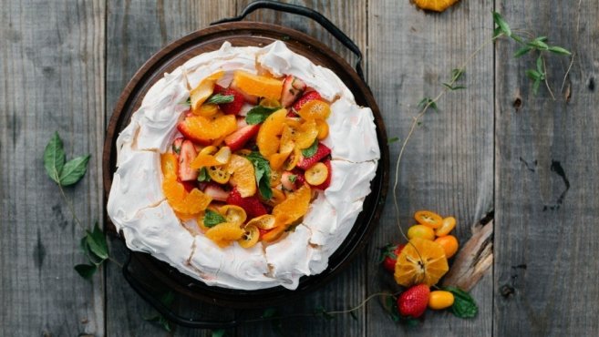 Citrus and berry pavlova