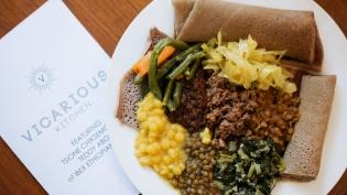 Ethiopian food at Vicarious Kitchen workshop