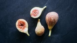 Celeste Figs cut open on slate