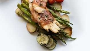 Prosciutto-Wrapped Triggerfish with Spring Vegetables
