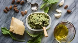 arugula almond pesto with basil