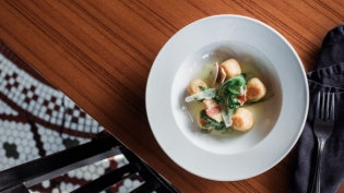Cream cheese gnudi with cured ham from 13 Gypsies