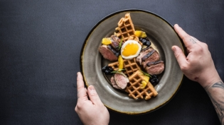 coffee cured duck and sweet potato waffles