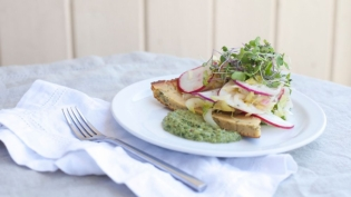 Chickpea Socca with Easter Egg Radish Salad and Carrot Top Mint Pesto