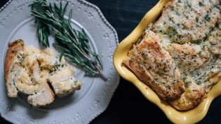 herb and ricotta bread pudding